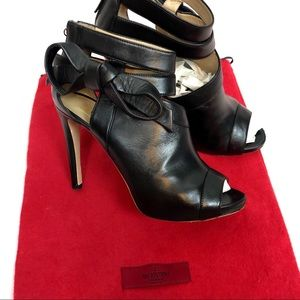 Valentino Asymmetrical Bow Open Toe Booties
